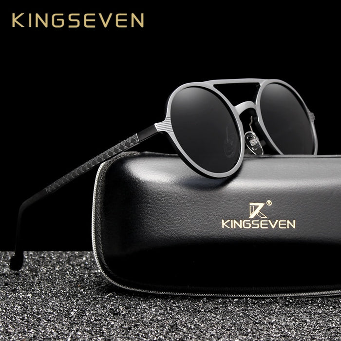 KINGSEVEN Aluminum Men's Round Sunglasses Polarized Men Punk Vintage Eyewear Accessories Sun Glasses Driving Retro Sun glasses