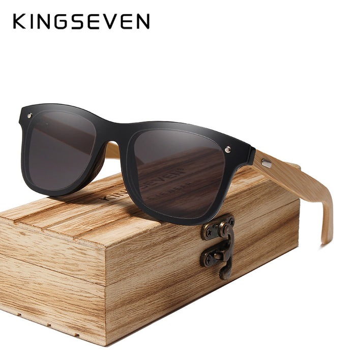 KINGSEVEN DESIGN 2019 Siamese lens Sunglasses Men Bamboo Women Brand Design Goggles Red Mirror Sun Glasses Shades
