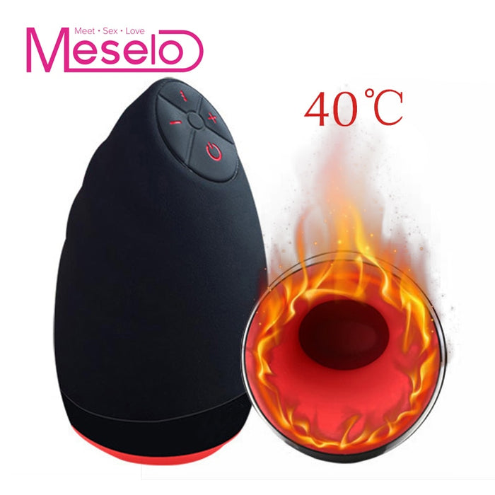 Meselo 6 Modes Lick Suck Automatic Intelligent Heat Sex Machine Oral Masturbation Cup Vibrating Realistic Vagina Sex Toy For Men