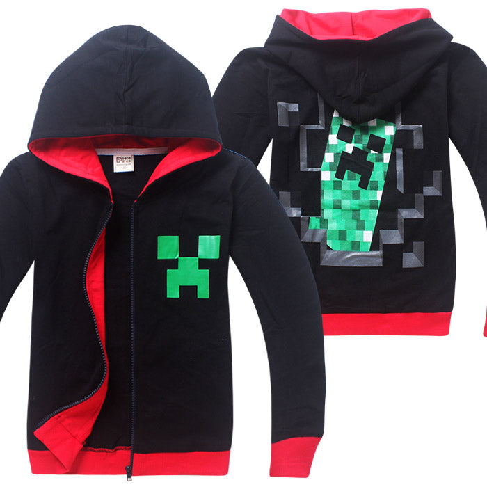 Minecraft Children Clothing 2018 autumn Long Sleeve Hoodies T Shirt Batman Spiderman Cartoon T-Shirts For Boys Girls Kids coat