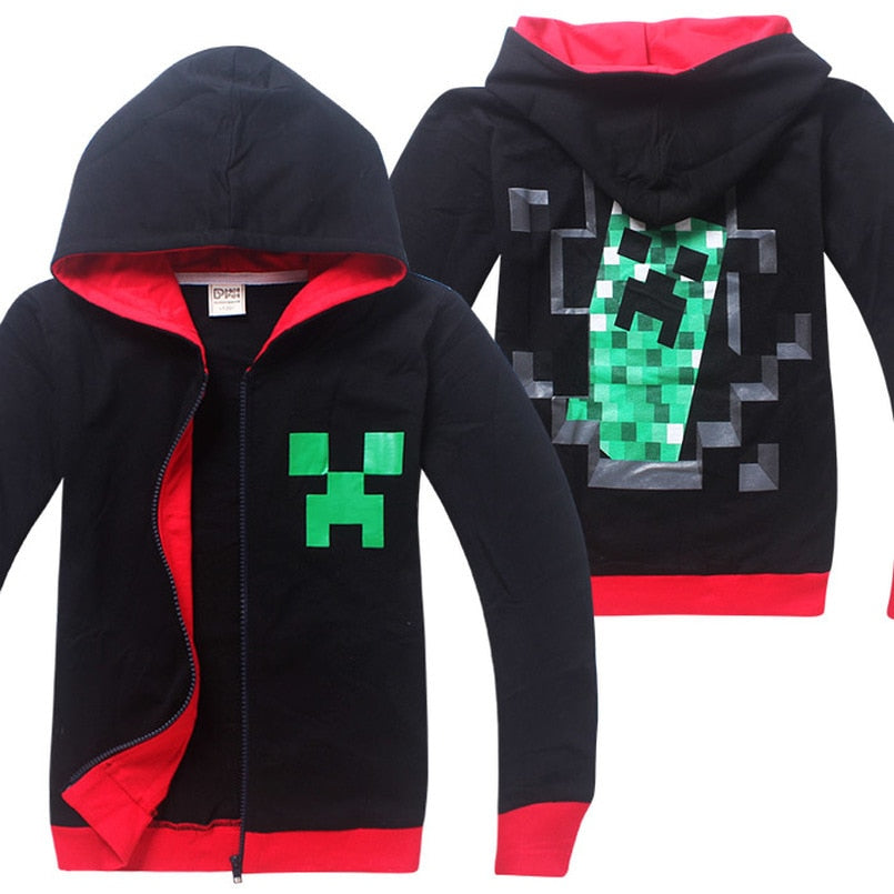 Minecraft Children Clothing 2018 autumn Long Sleeve Hoodies T Shirt Batman Spiderman Cartoon T-Shirts For Boys Girls Kids coat 1 2