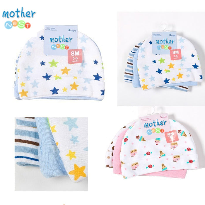 Mother Nest 3pcs/lot Baby Hats Pink/Blue Star Printed Baby Hats & Caps for Newborn Baby Accessories