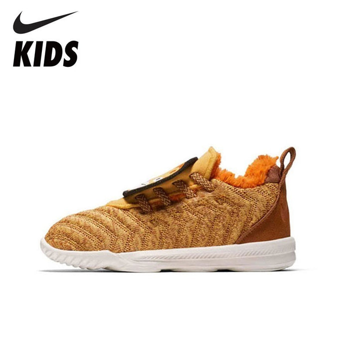 NIKE LEBRON XVI LB (TD)  New Arrival cute tiger Winter Warm  Sneakers For Kids Sports  plus velvet Shoes AT5709-700