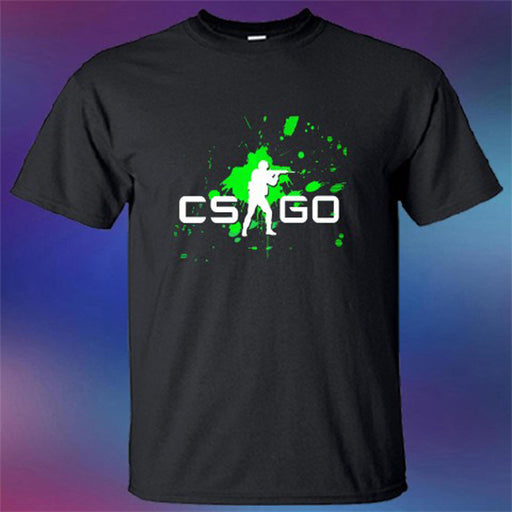 New Counter Strike Global Offensive CS:GO Logo Men's Black T-Shirt Size S-3XL Short-Sleeved Print Letters Sleeve T Shirt