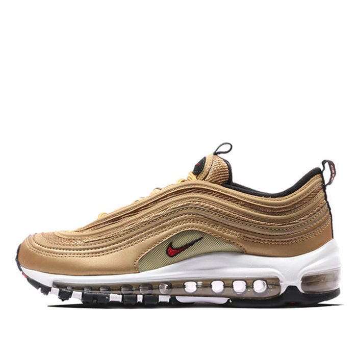 new concept 52e01 1e855 Nike Air Max 97 OG QS Men's Breatheable Running Shoes Gold And Silver  Bullet Sneakers # 884421