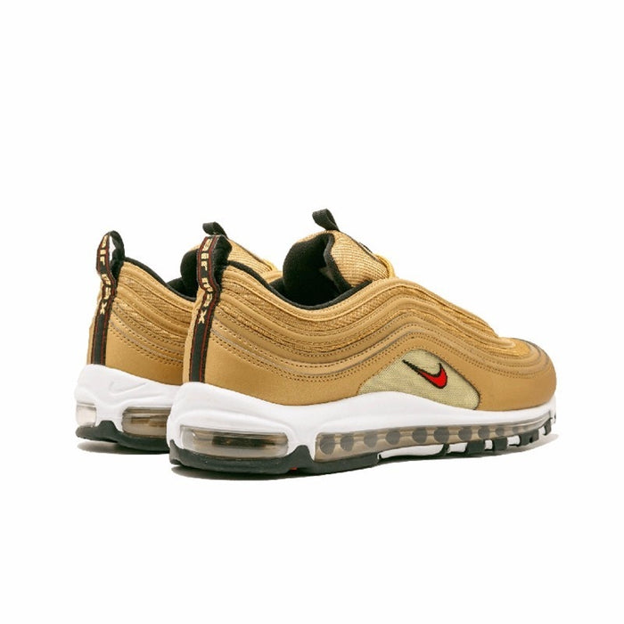 new concept a24c6 e000f Nike Air Max 97 OG QS Men's Breatheable Running Shoes Gold And Silver  Bullet Sneakers # 884421