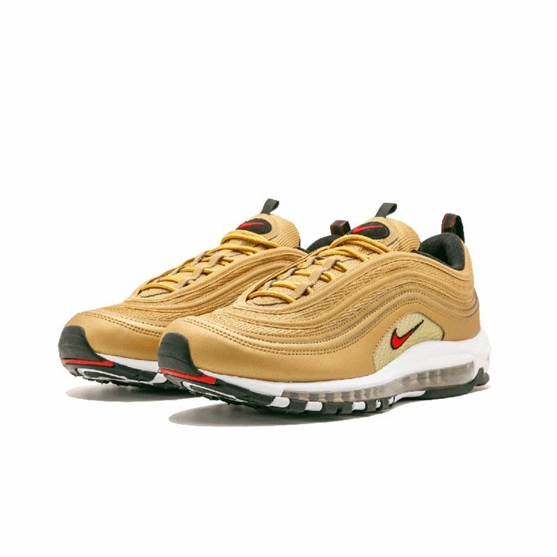 separation shoes d2dd1 1bd12 Nike Air Max 97 OG QS Men s Breatheable Running Shoes Gold And Silver  Bullet Sneakers