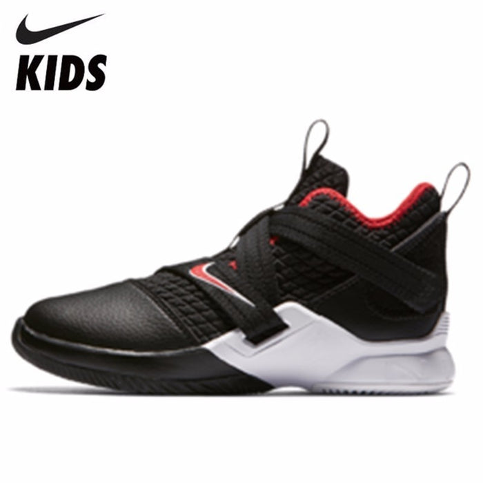 timeless design f219b 864a3 Nike LEBRON SOLDIER XII Boy And Girl Motion Shock Absorption Basketball  Shoes Running Shoes Kids Sneakers#AA1353-001