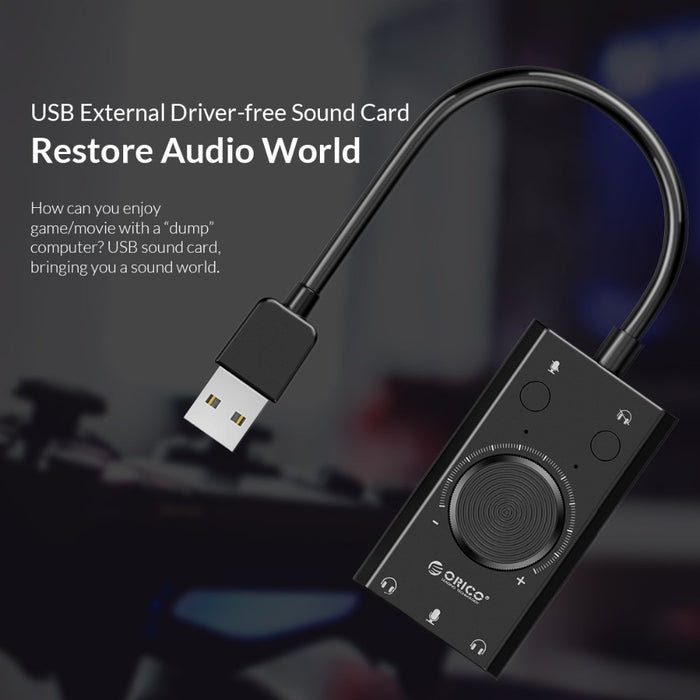 ORICO USB Free Portable External Sound Card 2 in 1 Earphone 3.5mm Output 3 Ports Adjuster with Mic Switcher for Windows for Mac