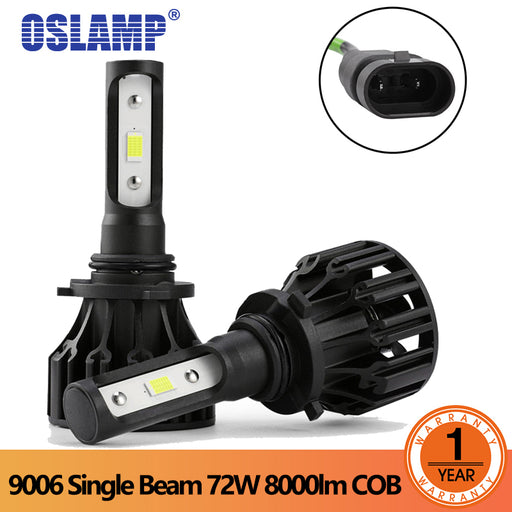 OSlamp 2Pcs 9006 LED Headlight 72W/Pair COB Chips Car Auto led Headlamp Single Beam 8000LM Automobiles Lamp 6500K 12V