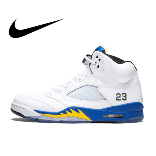 new arrival e5bd1 9b412 Original Authentic Nike Air Jordan 5 Retro Laney Men s Breathable  Basketball Shoes Sport Outdoor Sneakers 2018