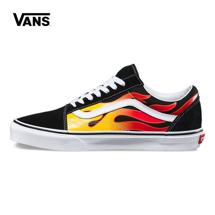 Original Vans Unisex Men's Classic Rock Flames Old Skool Canvas Skateboard Shoes Sneakers Couples Weight lifting shoes Eur 36-44