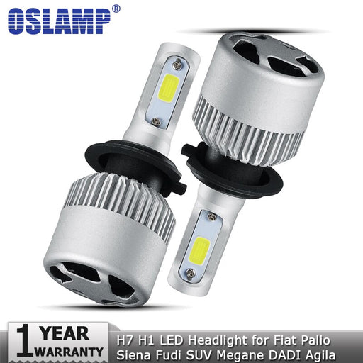 Oslamp H7 H1 Hi lo COB Car LED Headlight Bulb 72W 8000lm Auto Led Headlamp 12v for Fiat Palio Siena Fudi SUV Megane DADI Agila