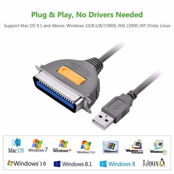 Ugreen USB to DB36 Printer Cable LPT Female Port Parallel IEEE 1284 36Pin Print Adapter Converter Printer Cable USB to DB36 CN36
