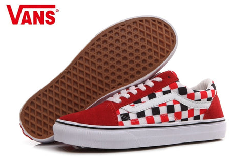 VANS Classic Men and Womens Sneakers Checkerboard lattice white red grid  tie canvas shoes 53e16f527