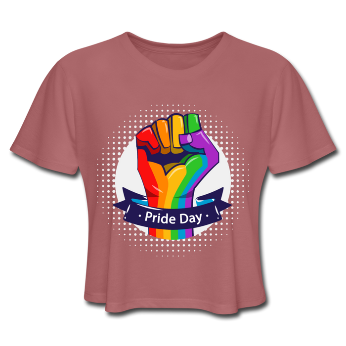 Women's Cropped T-Shirt - Pride Day - mauve