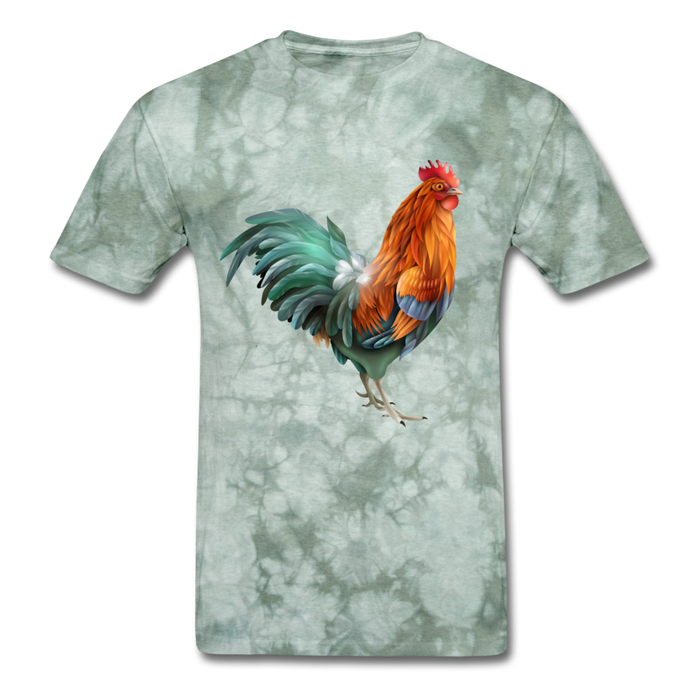 Men's T-Shirt - Rooster - military green tie dye