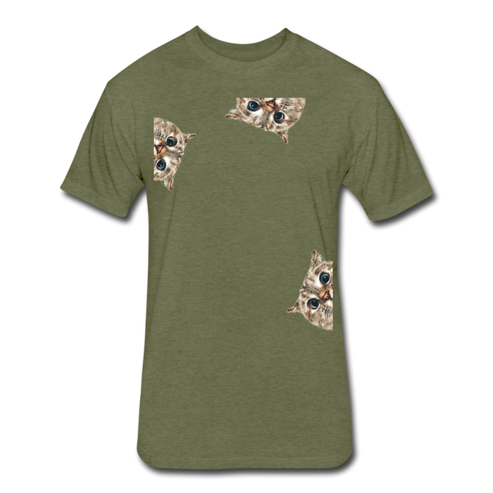 Fitted Cotton/Poly T-Shirt by Next Level - Cat - heather military green