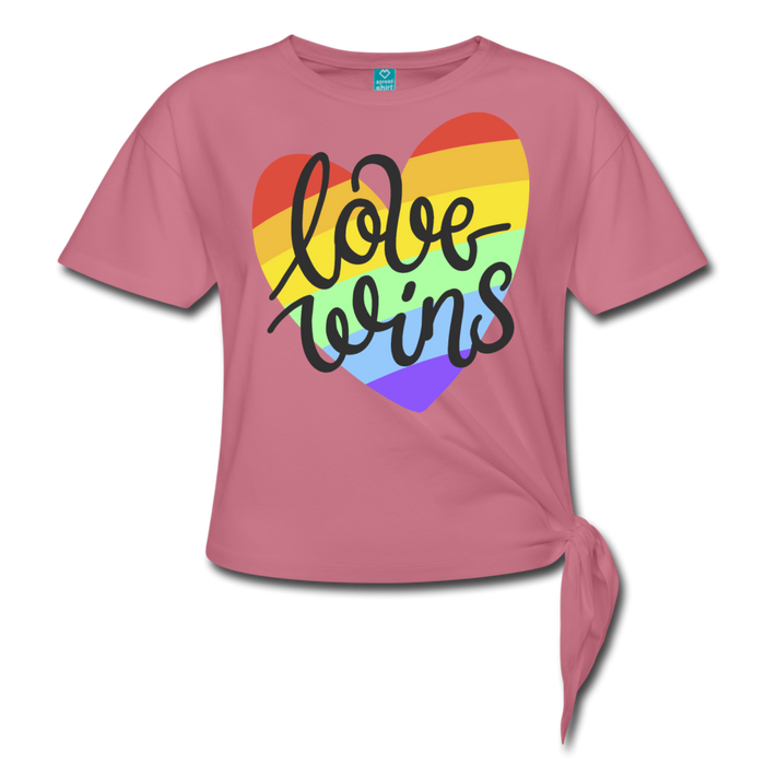Women' s Knotted T-Shirt - Love Wins Pride - mauve