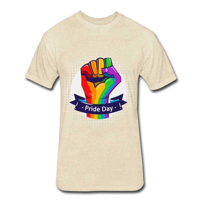 Fitted Cotton/Poly T-Shirt by Next Level - Pride Day - heather cream