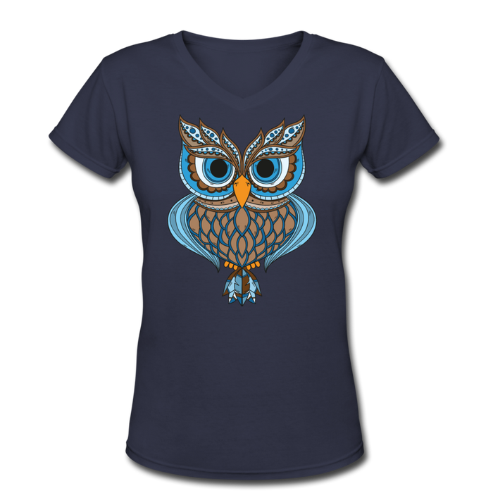 Women's V-Neck T-Shirt - Owl - navy