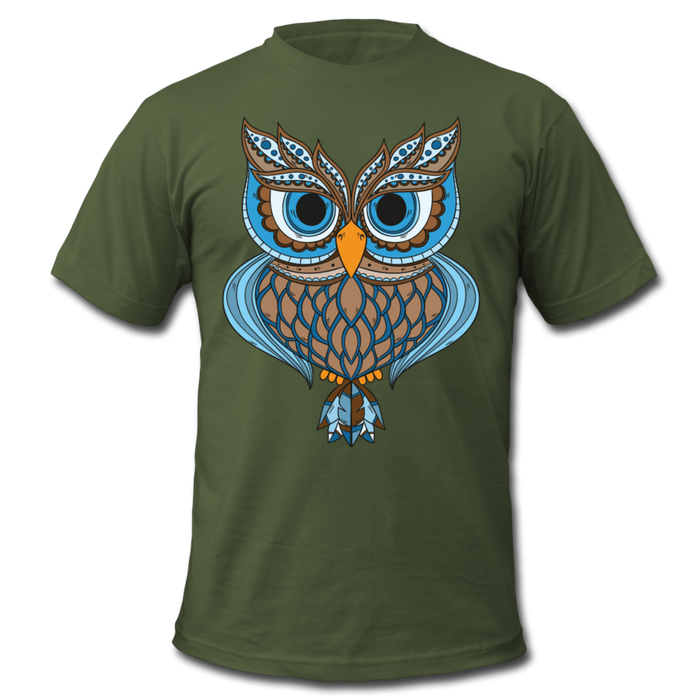 Men's  Jersey T-Shirt - Owl - olive