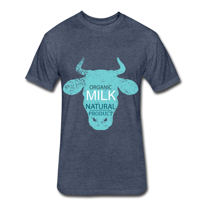 Fitted Cotton/Poly T-Shirt by Next Level - Cow - heather navy