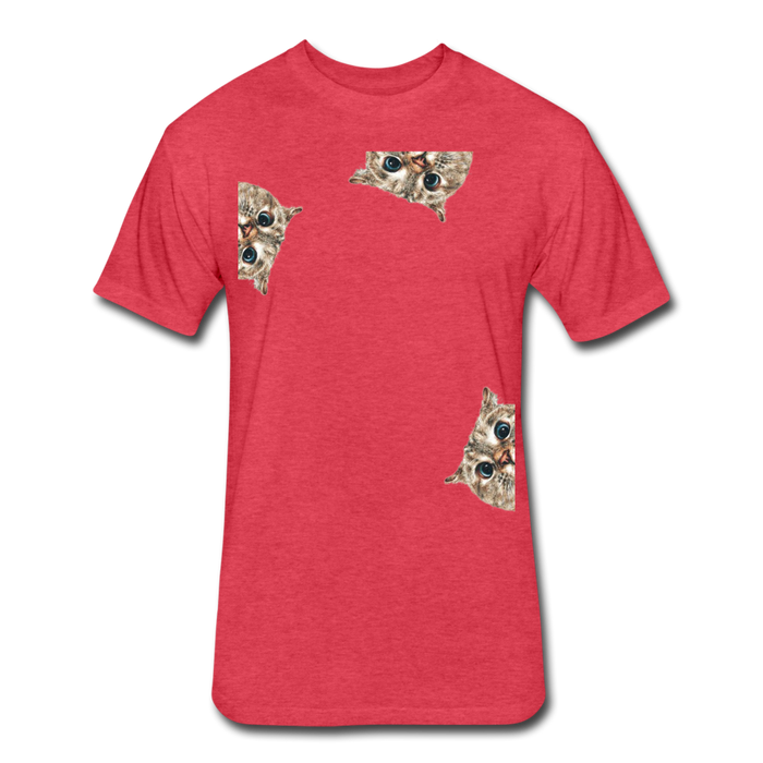 Fitted Cotton/Poly T-Shirt by Next Level - Cat - heather red