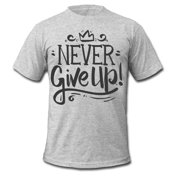 Men's  Jersey T-Shirt - Never Give Up - heather gray