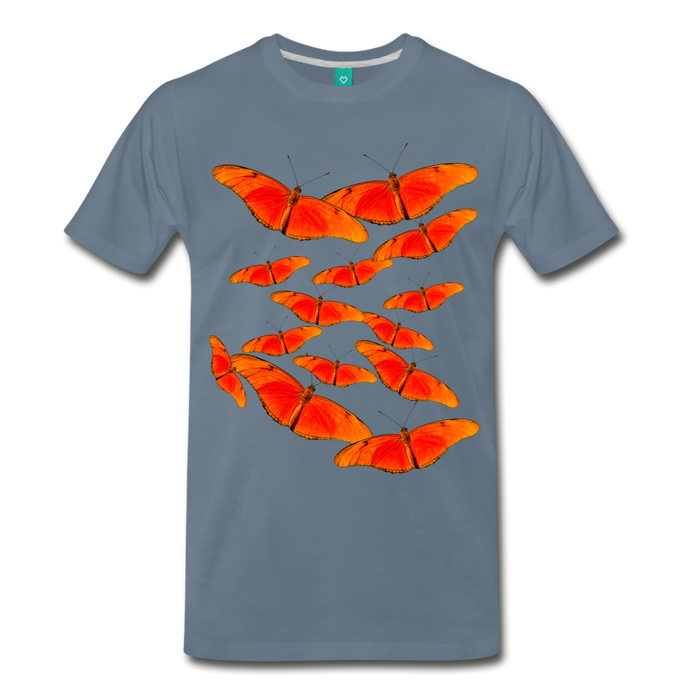 Men's Premium T-Shirt - Butterfly - steel blue