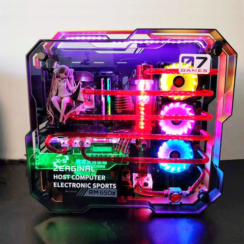 i7 7700k 8G/16GB 1T GX1080 ATX Desktop gaming computer PC with MOD full aluminum alloy double tempered glass Water cooling case