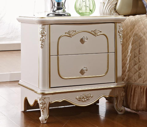 luxury European and American style bedroom furniture rose series french  Bedside Cabinets/table With Gold