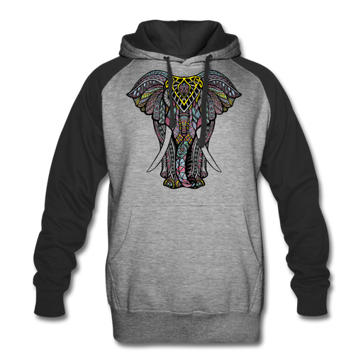 Colorblock Hoodie - Elephant - heather gray/black