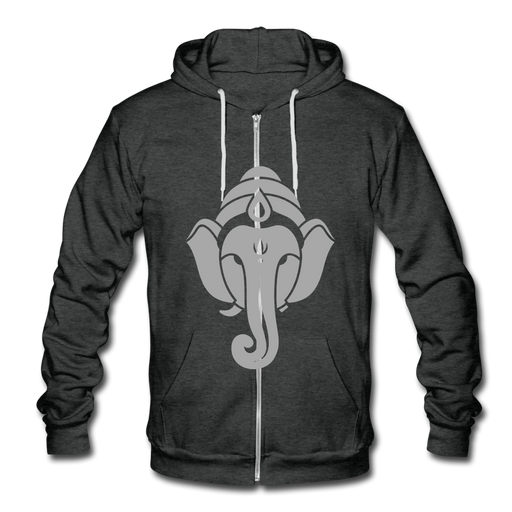 Unisex Fleece Zip Hoodie - Elephant - charcoal gray