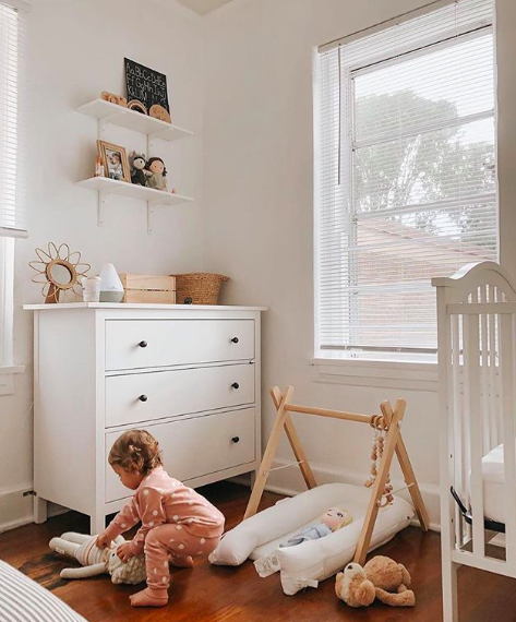 child's bedroom with child playing