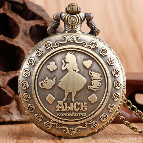 "Women's Classic ""Alice In Wonderland"" Stainless Steel Pocket Watch"