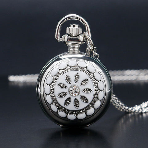 Women's Luxury Stainless Steel Crystal Flower Pocket Watch