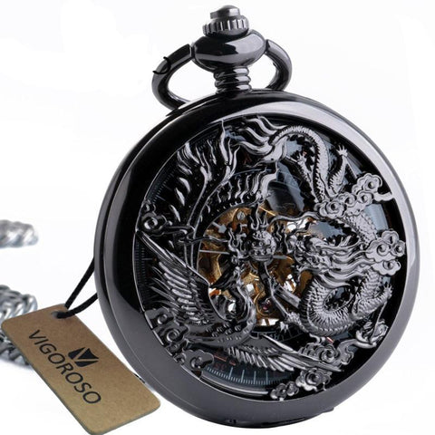 Men's Luxury Stainless Steel Dragon/Phoenix Skeleton Pocket Watch