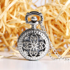Women's Luxury Stainless Steel Floral Butterfly Pocket Watch