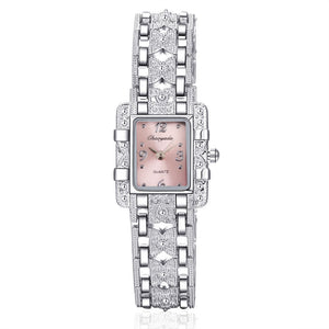 Women's Royal Roman Style Square Crystal Studded Quartz Wrist Watch