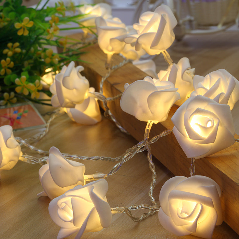 Elegant White Rose LED Light Strand [5 meters, 40 roses]