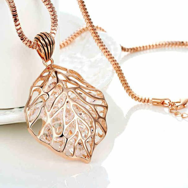 Hollowed Leaf Crystal Necklace