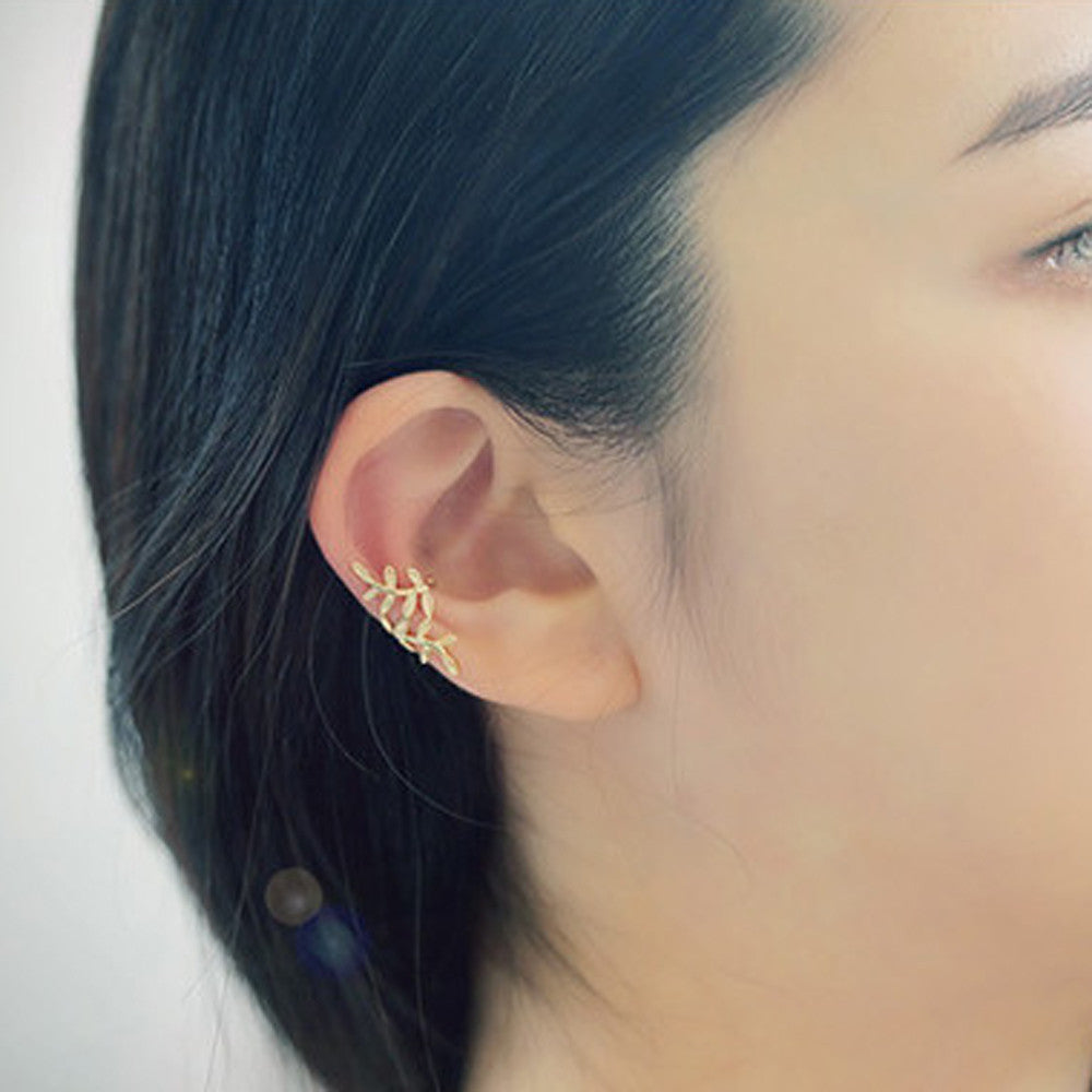 Crystal Leaves Ear Cuff (Clip On) ✾ Silver & Gold