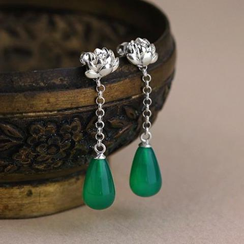 Little Lotus Dangle Earrings [925 Sterling Silver] (Handmade)