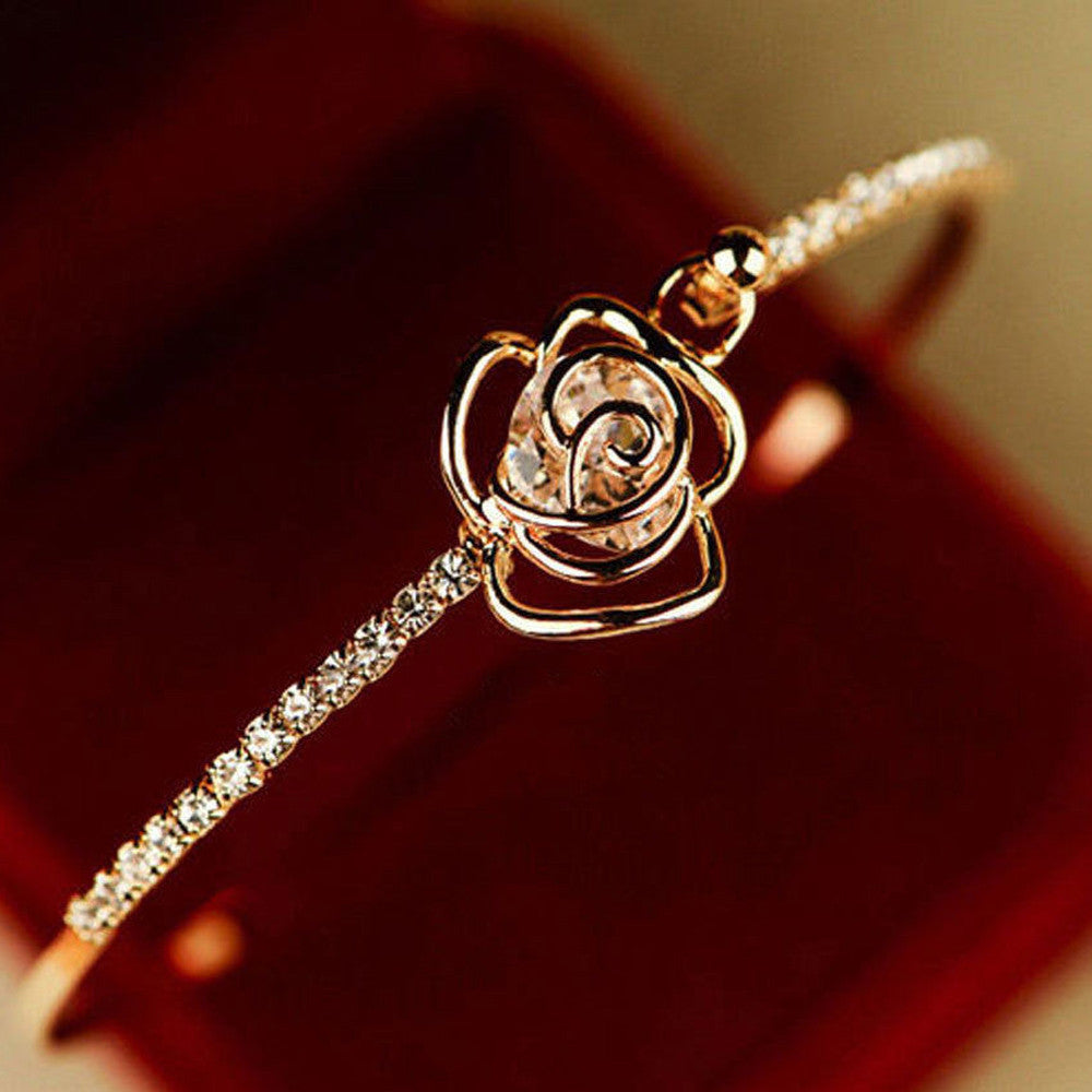 Crystal Rose Bangle Bracelet