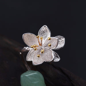 Little Lotus Ring Wrap [925 Sterling Silver] Natural Chalcedony (Handmade)