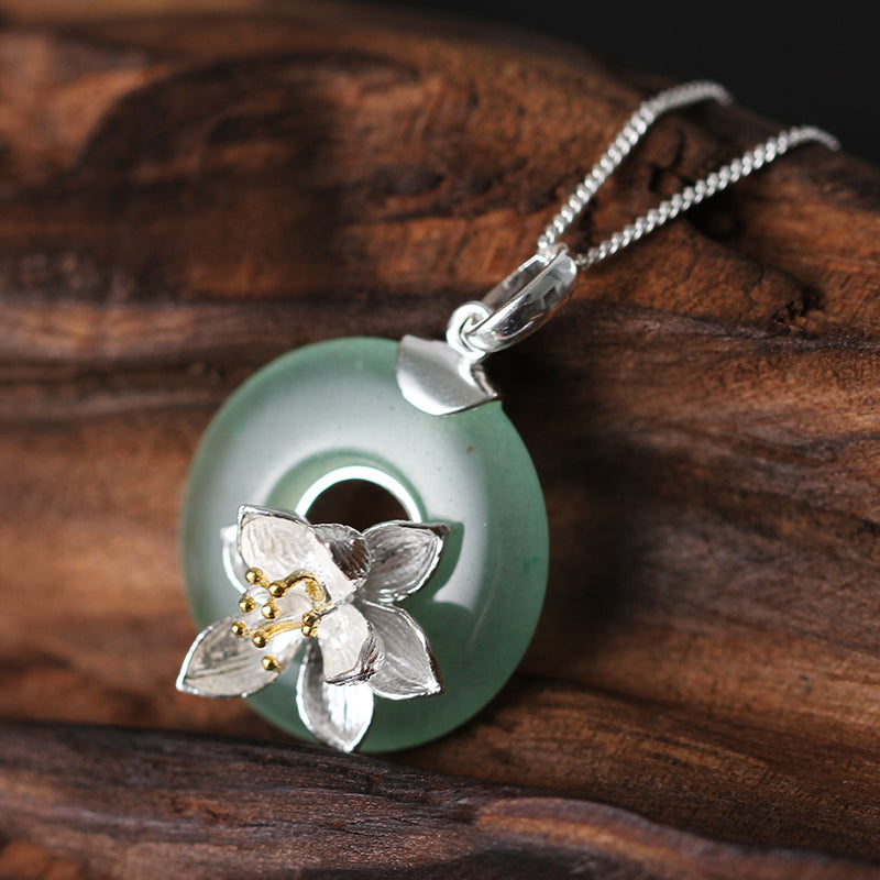 Little Lotus Charm Necklace [925 Sterling Silver] (Handmade)