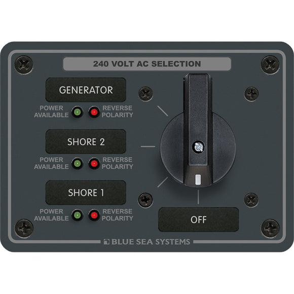 Blue Sea 8361 AC Rotary Switch Panel 65 Ampere 3 Positions + OFF, 3 Pole [8361]