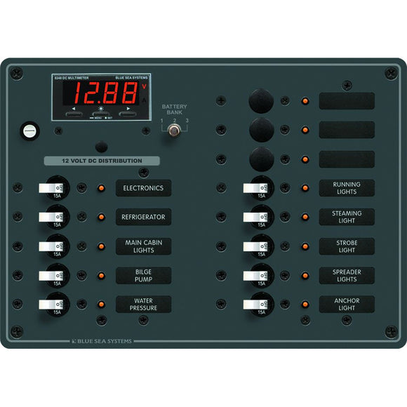 Blue Sea 8403 DC Panel 13 Position w- Multimeter [8403]