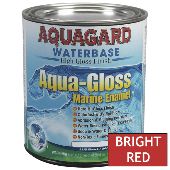 Aquagard Aqua Gloss Waterbased Enamel - 1Qt - Bright Red [80002]